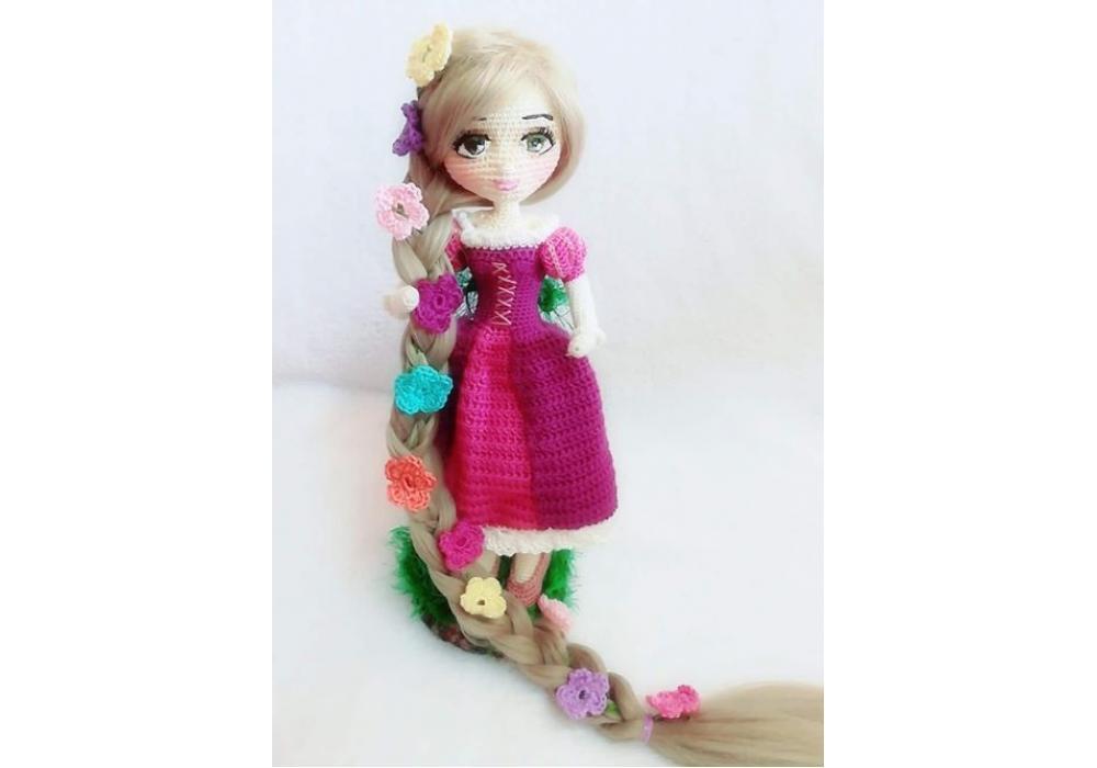 Rupanzil Doll Handmade Amigurumi Stuffed Toy Knit Crochet Doll |Thermal hair - embroidery eyes - wire full body