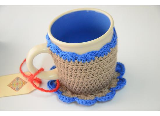 Handcraft Crochet Cozy Reusable Handmade Cover Coffee Mugs -with Heat Insulation Cup Covers Blue & Grey