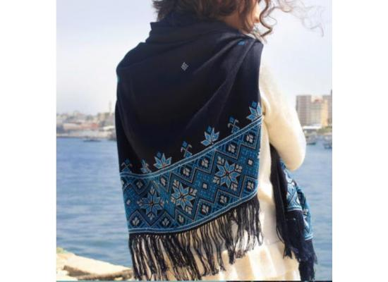Women Scarf Embroidered rectangular size Black color embroidered with blue