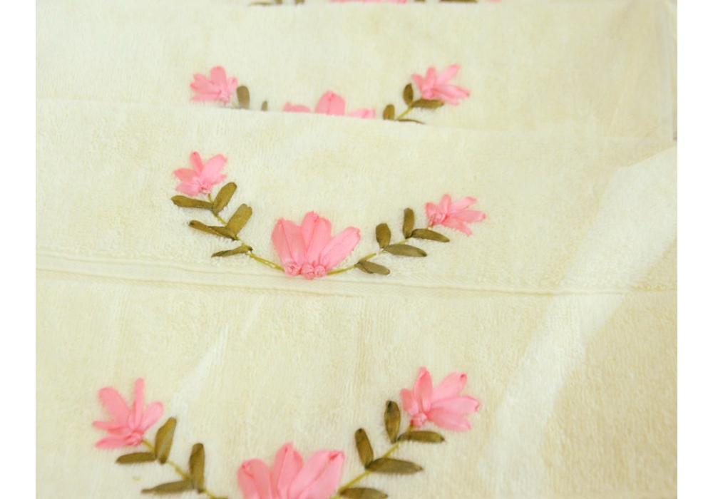 Ribbon embroidery Bath Towels- Flowers pattern design Cross Stitch-Handwork Home Decoration
