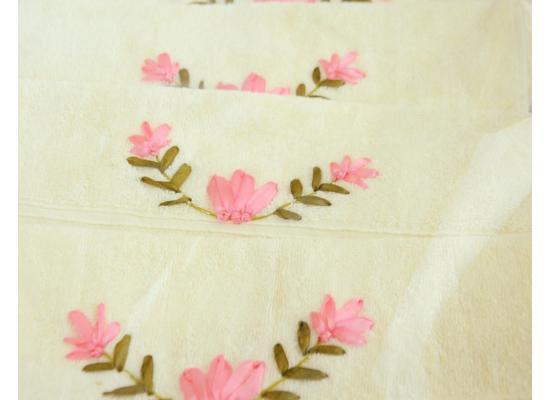 Ribbon embroidery Bath Towels- Flowers pattern design Cross Stitch-Handwork Home Decoration