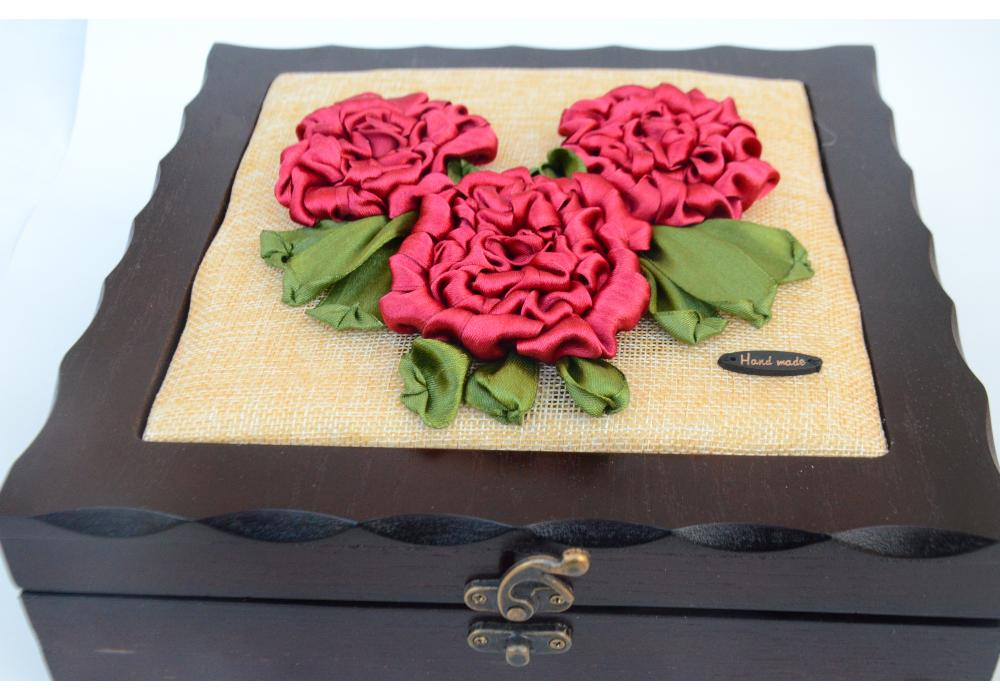 Embroidered box of satin -Spring Flower blooming - Box Organizer with 4 Compartments  Red Color