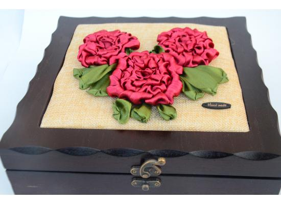 Embroidered box of satin -Spring Flower blooming - Box Organizer with 4 Compartments |Red Color