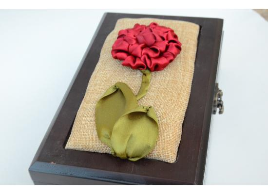 Embroidered box of satin| Spring Flower blooming |Rectangle Box Organizer with 6 Compartments |Red Color