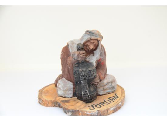 A Heritage Sculpture Old Man Marble Sculpture sitting beside Mihbash Suitable for souvenir travel gifts