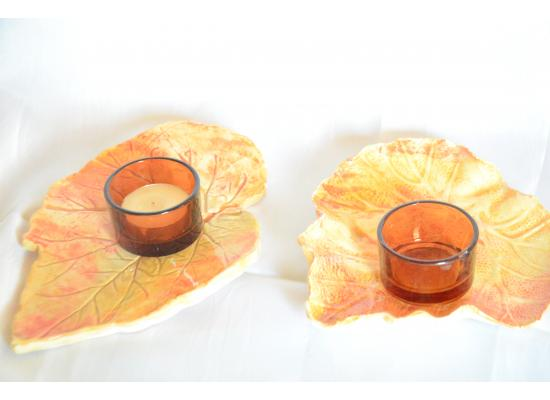 Pottery Small Beautiful Decorative Candles Tray Set of 2  Shape of Plant Leaf Centerpiece Decoration Room