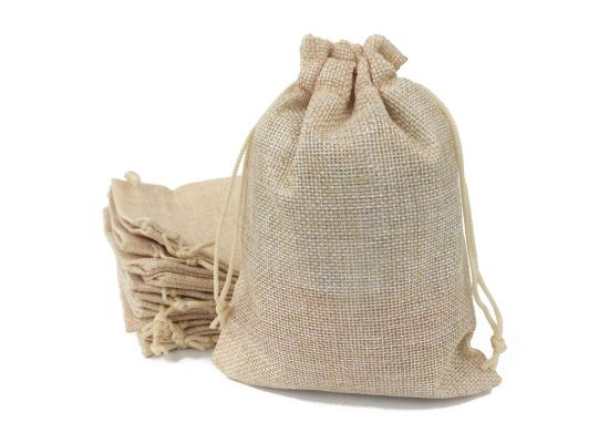 Burlap Favor Gift Bags with Drawstring and Cotton Lining