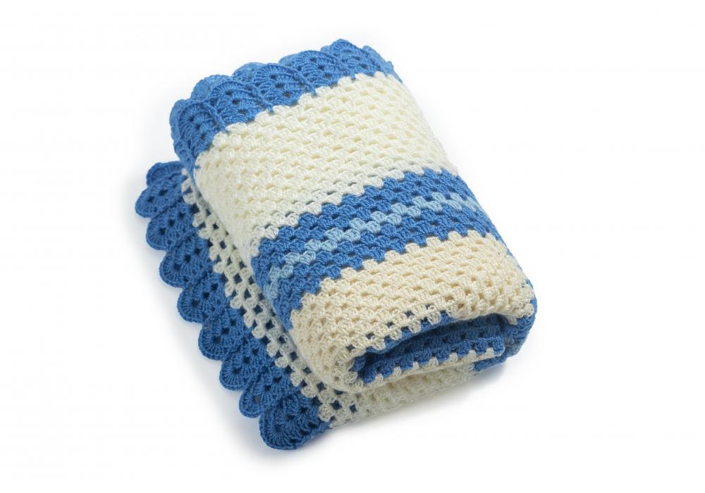 Hand Crocheted Baby Blanket   Blue & Beige