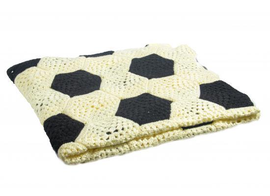 Hand Crocheted Baby Boy Blanket | Football Pattern