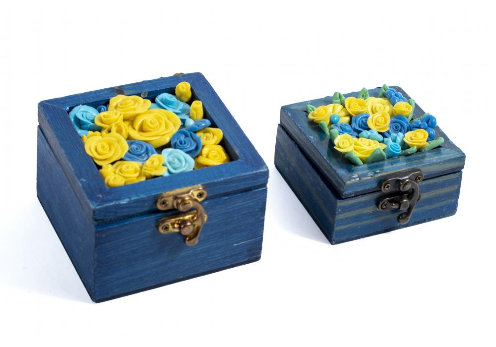 Wooden Box with Colored Ceramic Flowers | Blue Color | Set of 2 Boxes