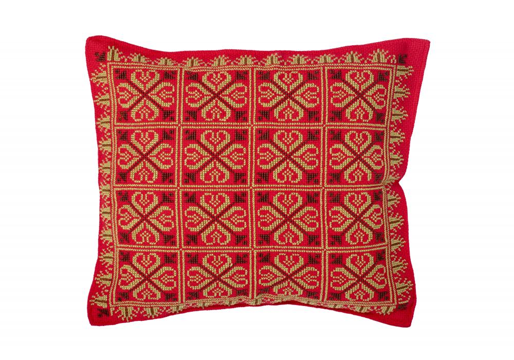 Embroidered Cushion Cover   Pillow Cases Shells for Home Sofa Chair  Red & Green