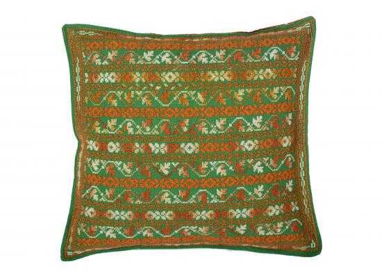Embroidered Cushion Cover | Pillow Cases Shells for Home Sofa Chair | Orange & Green