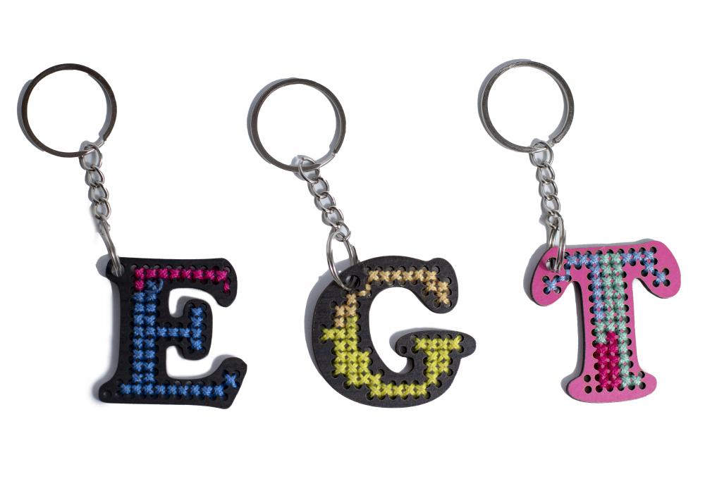 Embroidered Wooden Key chain | Order Your Letter with your favorite color