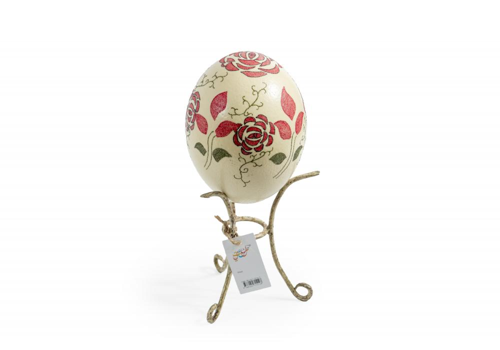 Large Ostrich Eggs With Handmade Painting | An Amazing & Elegant Piece of Art | Red flowers