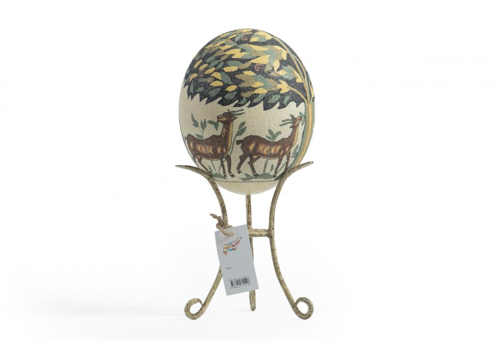 Large Ostrich Eggs With Handmade Painting | An Amazing & Elegant Piece of Art | Deer under tree