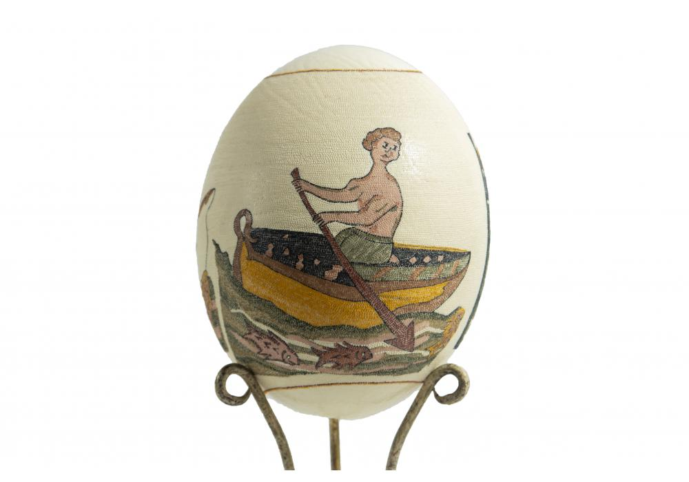 Large Ostrich Eggs With Handmade Painting   An Amazing & Elegant Piece of Art   Noah Symbol