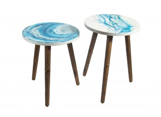 Resin Top Wooden Tables | Home Decoration | Blue Color