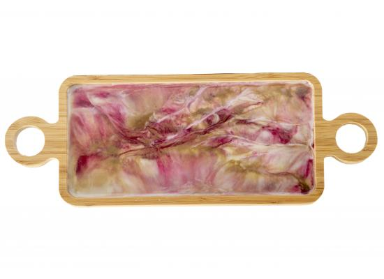 Small Wooden Serving Tray | Home Decoration | Resin Top | Pink color