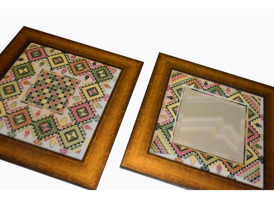 Embroidered Wooden Mirror & Embroidered Wooden Hanging Frame | Set of 2 Pieces