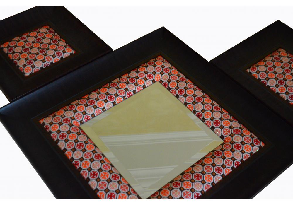 Embroidered Wooden Mirror & 2 Embroidered Wooden Hanging Frame | Set of 3 Pieces