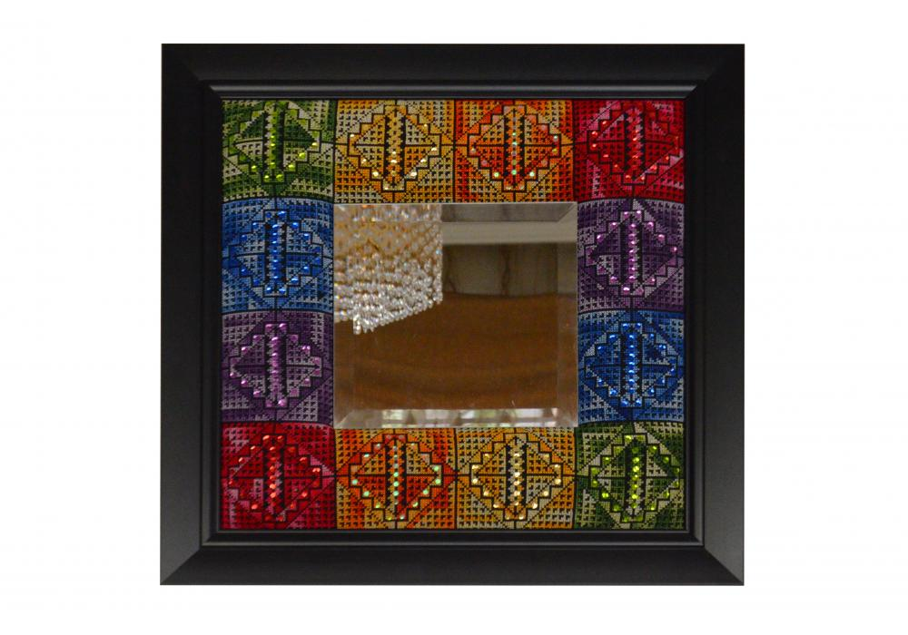 Embroidered Wooden Mirror & 4 small embroidered Wooden Hanging Frame|Set of 5 Pieces