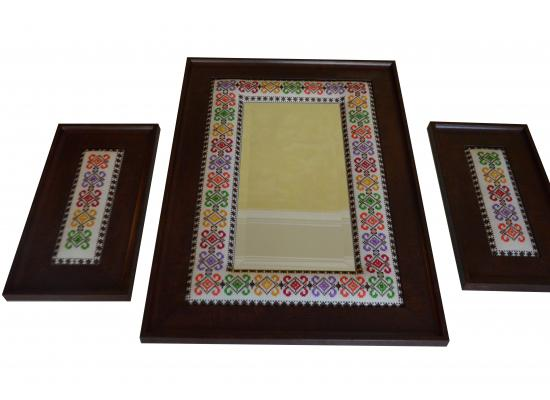 Embroidered Wooden Mirror & Two Embroidered Hanging Frames | Set of 3