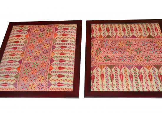 Embroidered Wooden Hanging Frame   Set of 2 Pieces