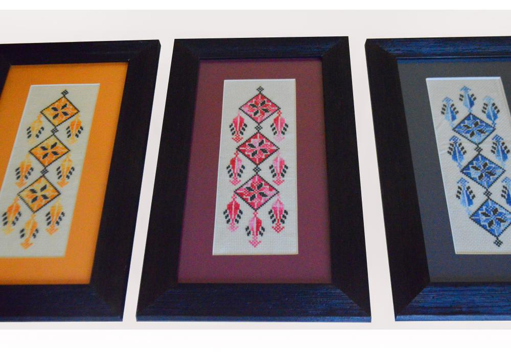 Embroidered Wooden Hanging Frame | Yellow Red and Blue | Set of 3