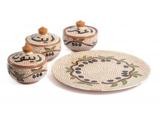 Breakfast Set of 7 Pottery Pieces |One Round Tray | 3 Deep Bowls with cover