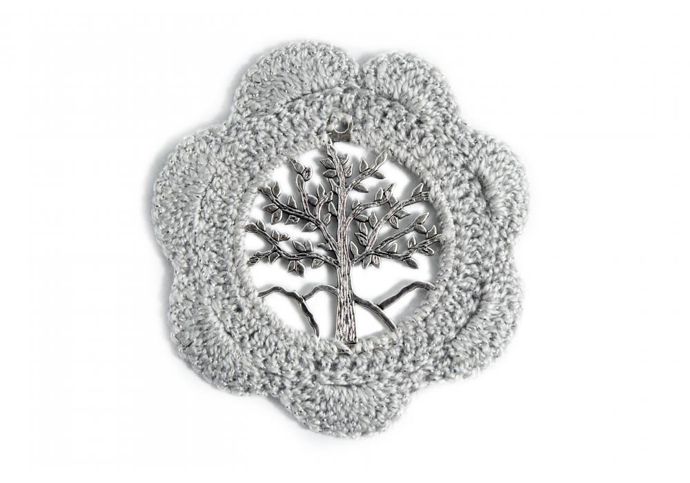 Crochet Coasters | Set of 6 | Silver Color