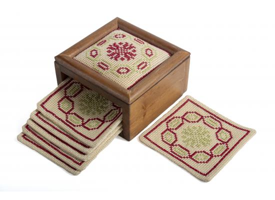 Embroidered Coaster Set Inside Embroidered ًWooden Box