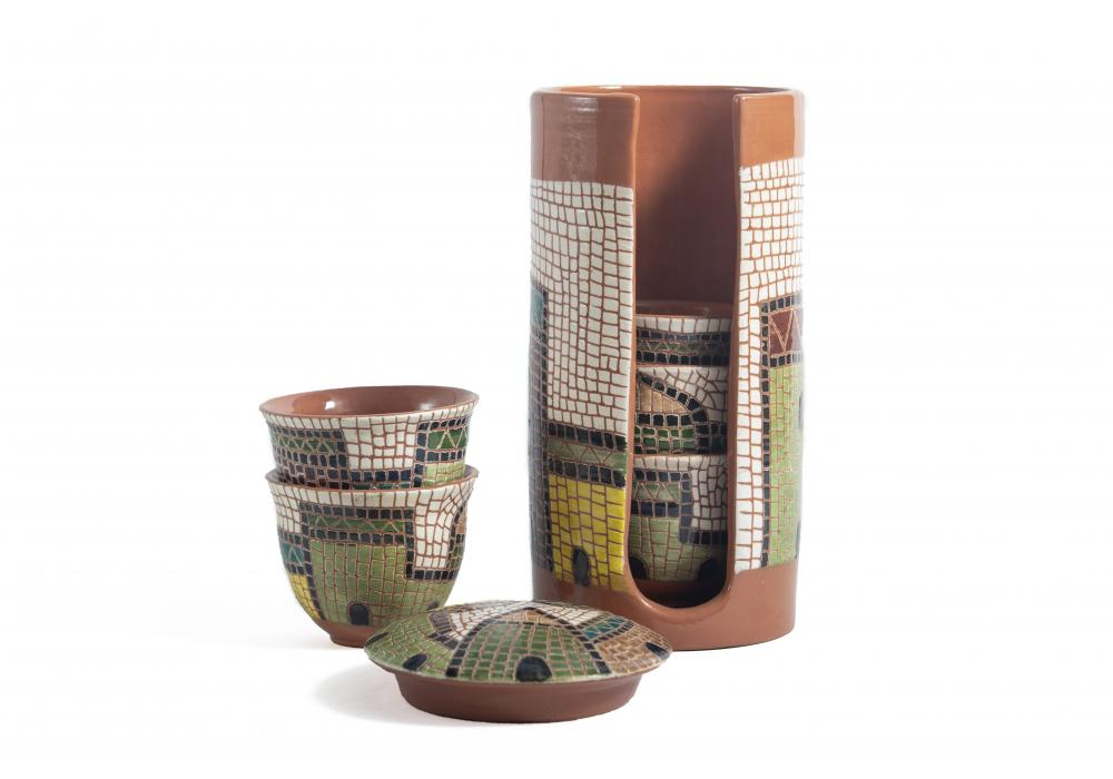 Arabic Coffee Cups Set with Pottery Container