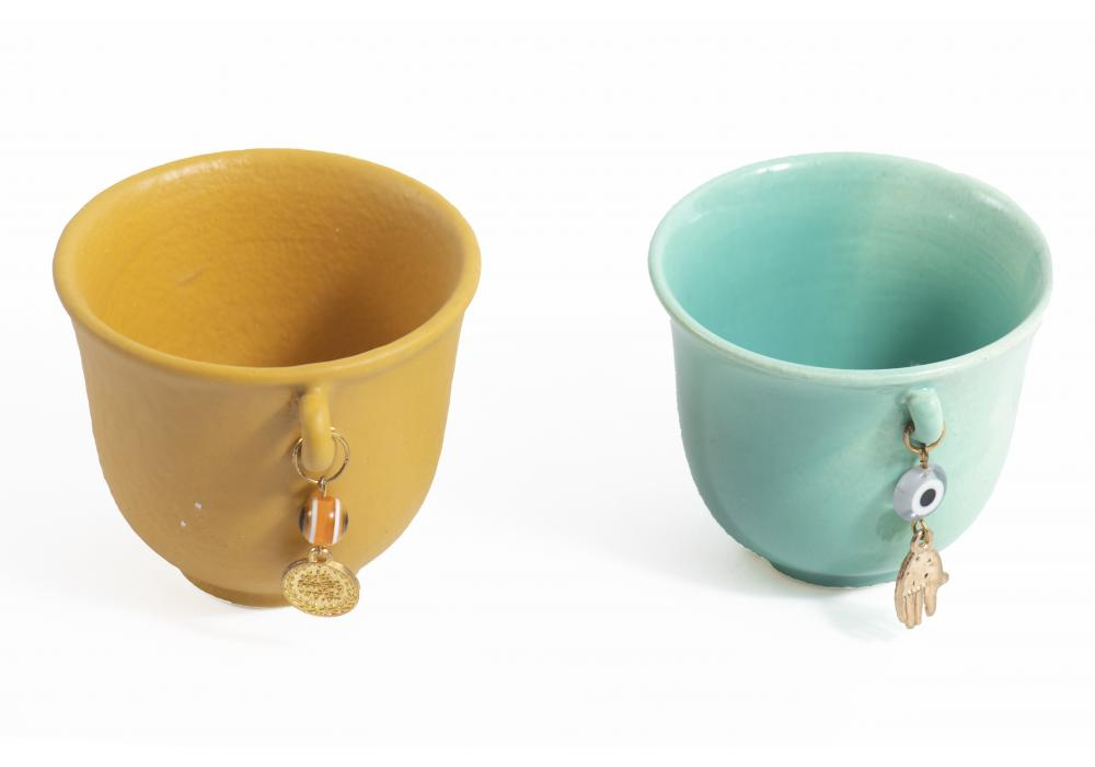 Arabic Coffee Cups | Yellow & Blue Colors