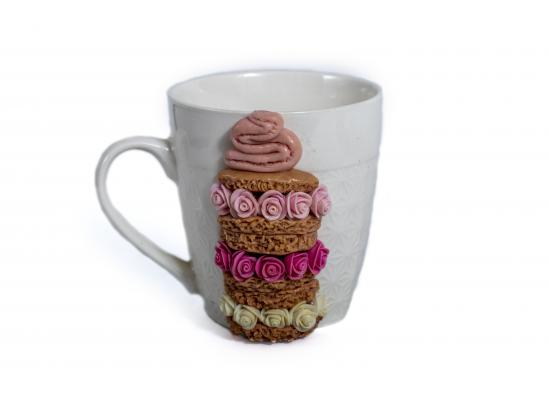 Amazing Mug Decorated with Ceramic Flowers | Colorful Flowers