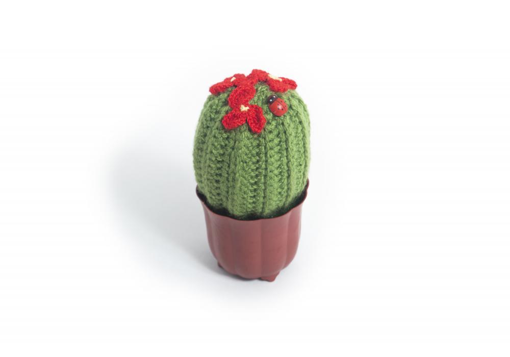 Funny Knitting Crochet Stuffed Cactus Plant | Brown Jar