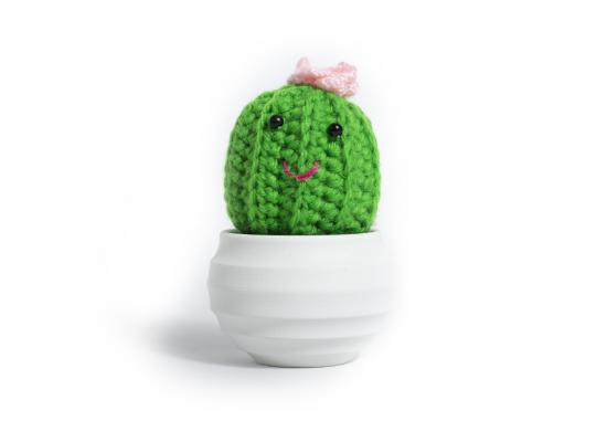 Funny Knitting Crochet Stuffed Cactus Plant | White Jar
