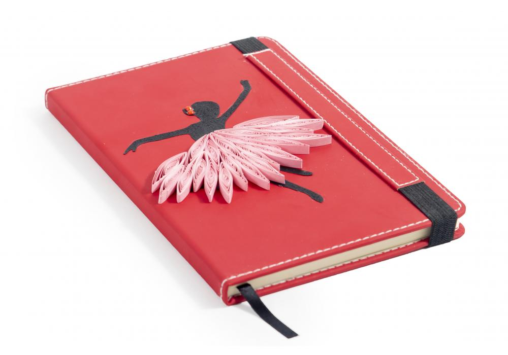 Quilling Art Notebook | Ideal for Schools Gifts | Red Color | Dancing Girl |  Item No.007