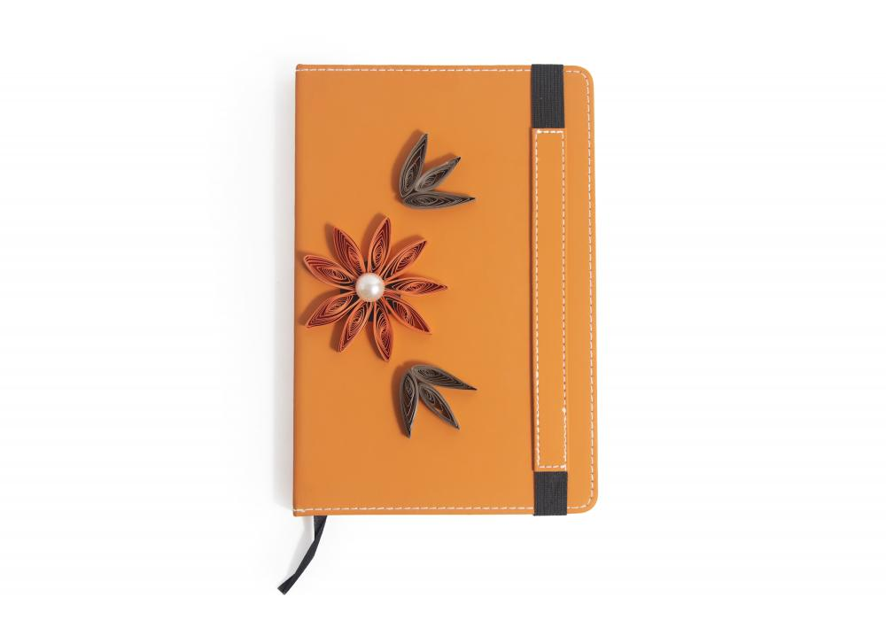 Quilling Art Notebook   Ideal for Schools Gifts   Orange Color   Item No.008